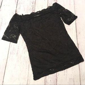 Cold Shoulder Black Lace Top Tee Shirt Sans Souci
